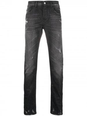 Прямые джинсы с эффектом потертости Frankie Morello. Цвет: черный