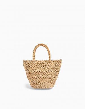 Бежевая соломенная сумка-тоут небольшого размера -Светло-бежевый Topshop