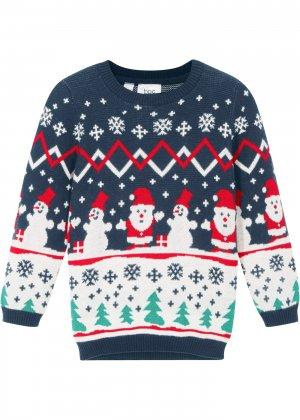 Пуловер новогодний bonprix. Цвет: синий
