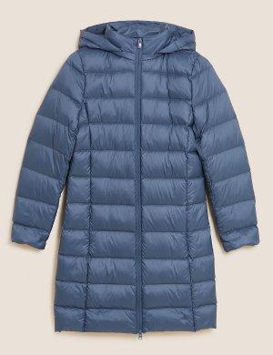 Пуховик пух и перо с отделкой Stormwear ™ M&S Collection. Цвет: воздушный голубой