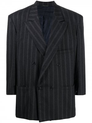 Двубортный пиджак 1980-х годов в тонкую полоску Versace Pre-Owned. Цвет: синий