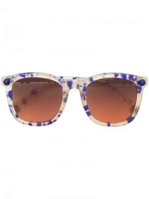 Солнцезащитные очки в квадратной оправе Christopher Kane Eyewear. Цвет: синий