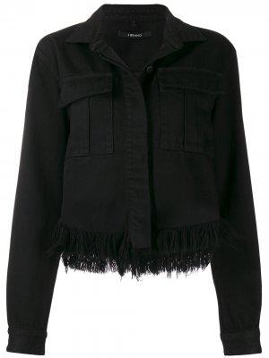 Укороченная джинсовая куртка с необработанными краями J Brand. Цвет: черный