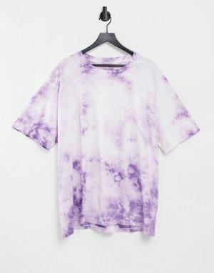 Свободная фиолетовая футболка с принтом тай-дай -Фиолетовый цвет American Eagle