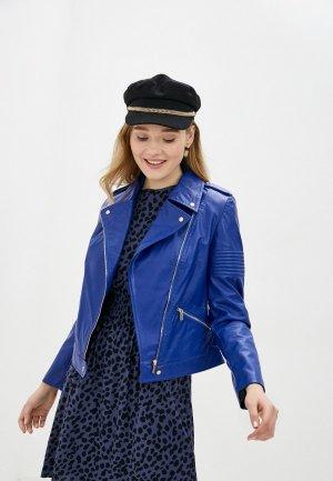 Куртка кожаная MD. Цвет: синий