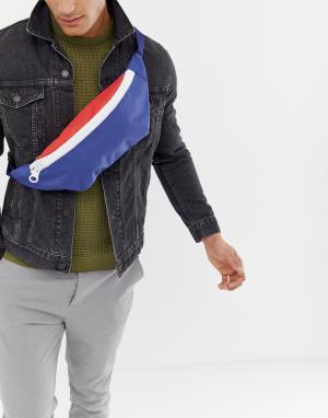 Массивная сумка-кошелек на пояс с молнией 7X. Цвет: мульти