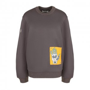 Хлопковый пуловер с круглым вырезом и контрастной нашивкой Chloé. Цвет: серый