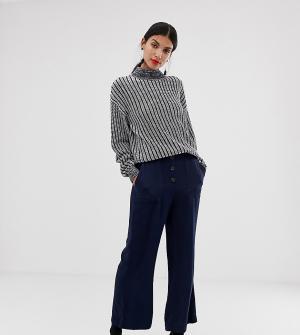Темно-синие расклешенные брюки в стиле милитари -Темно-синий Vero Moda Tall