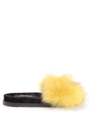 Шлепанцы с меховой опушкой Jog Dog. Цвет: желтый