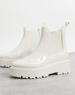 Светло-бежевые резиновые ботинки челси на массивной подошве -Нейтральный ASOS DESIGN