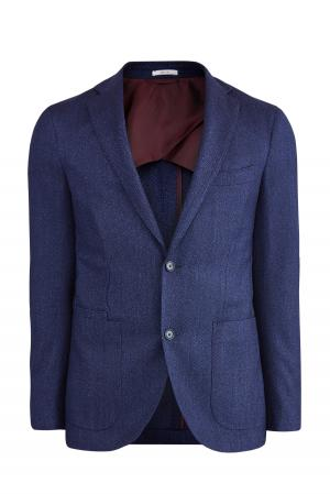 Пиджак в неаполитанском стиле из шерсти и шелка LUCIANO BARBERA. Цвет: синий