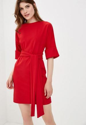 Платье LOST INK Turn Up Sleeve Tie Waist Dress. Цвет: красный