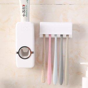 1шт сжимая стойкая для зубных паст и держатель зубной щетки SHEIN. Цвет: белый