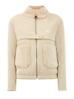 Куртка-бомбер из фактурного вельвета с объемными карманами KENZO. Цвет: бежевый