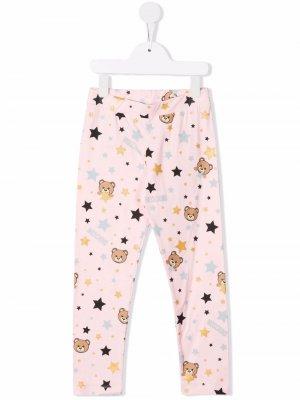 Teddy bear-motif star leggings Moschino Kids. Цвет: розовый