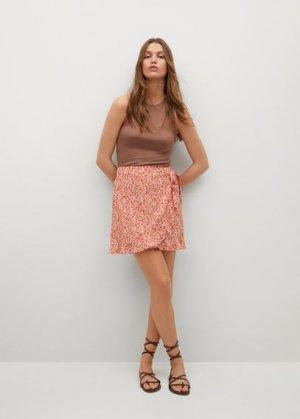 Мини-юбка с запáхом и цветами - Delfos Mango. Цвет: розовый