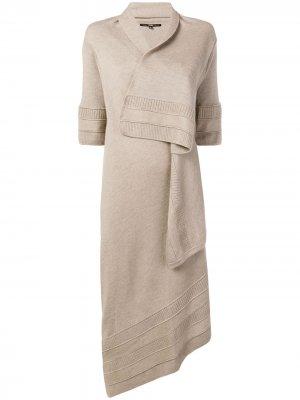 Асимметричное пальто-кардиган с запахом Gianfranco Ferré Pre-Owned. Цвет: нейтральные цвета