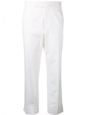 Классические брюки с отделкой сзади Thom Browne. Цвет: белый