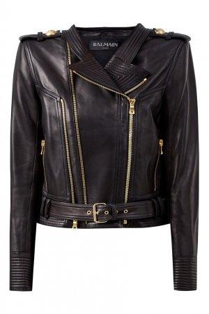 Короткая кожаная куртка Balmain. Цвет: черный