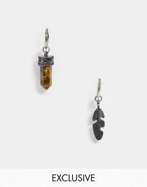 Серьги-кольца с подвеской‑камнем тигровый глаз -Серебряный Reclaimed Vintage