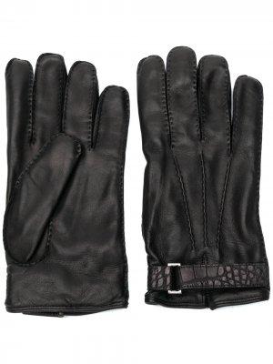 Перчатки с тисненым ремешком Ermenegildo Zegna. Цвет: черный