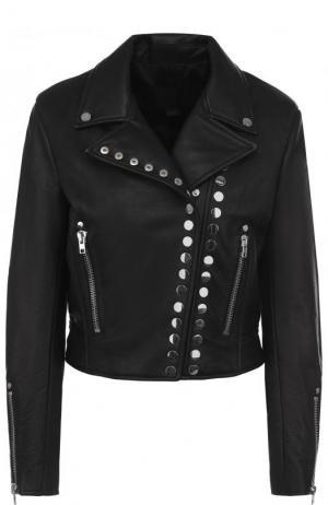 Однотонная кожаная куртка с косой молнией Alexander Wang. Цвет: черный