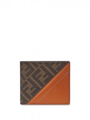 Бумажник с логотипом FF Fendi. Цвет: коричневый