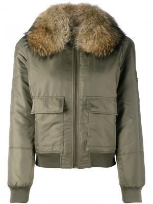 Куртка-бомбер с меховой отделкой Army Yves Salomon. Цвет: зелёный