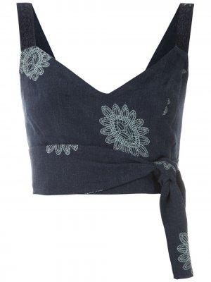 Укороченный топ Karen Greta с вышивкой Martha Medeiros. Цвет: синий