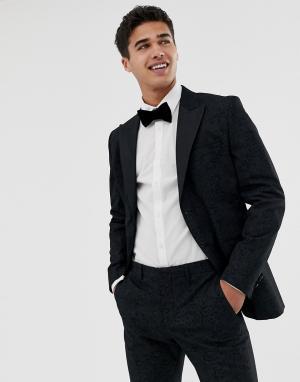 Жаккардовый приталенный пиджак-смокинг премиум-класса с принтом пейсли Jack & Jones. Цвет: черный