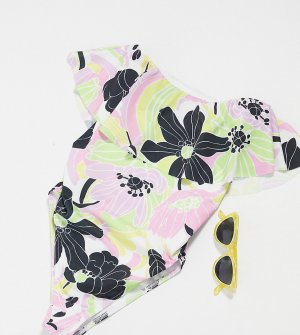 Слитный купальник с оборками и цветочным принтом в стиле 70-х ASOS DESIGN Maternity-Мульти Maternity
