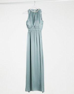 Голубое атласное платье макси с отделкой bridesmaid-Голубой Little Mistress