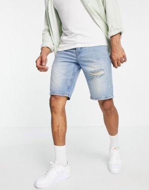 Голубые джинсовые шорты свободного кроя со рваной отделкой -Голубой Only & Sons