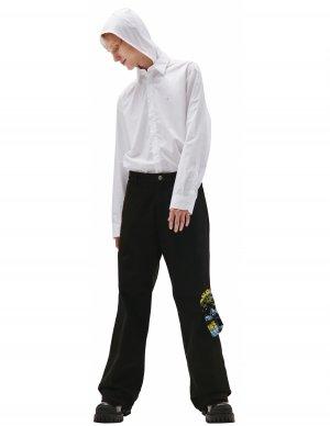 Широкие джинсы с графичными карманами Raf Simons
