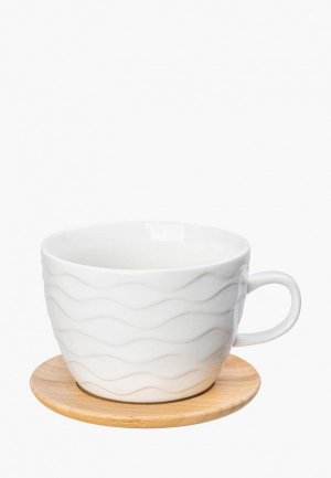 Чашка с блюдцем Elan Gallery. Цвет: белый