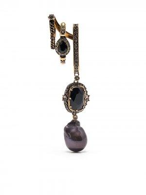 Серьга-подвеска с кристаллами Alexander McQueen. Цвет: золотистый
