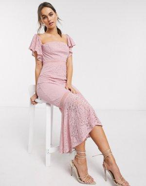 Розовое кружевное платье макси с годе -Розовый цвет Little Mistress