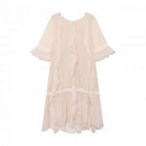 Шелковое платье Chloé. Цвет: бежевый
