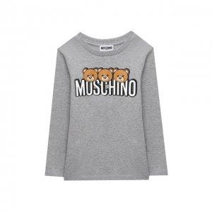 Хлопковый лонгслив Moschino. Цвет: серый
