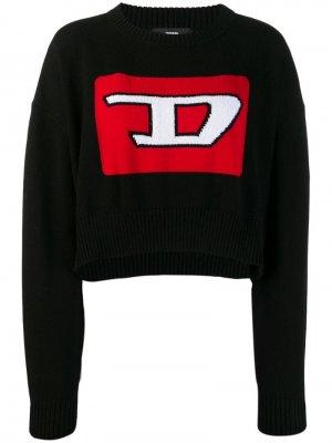 Укороченный пуловер с 3D узором вязки интарсия Diesel. Цвет: черный