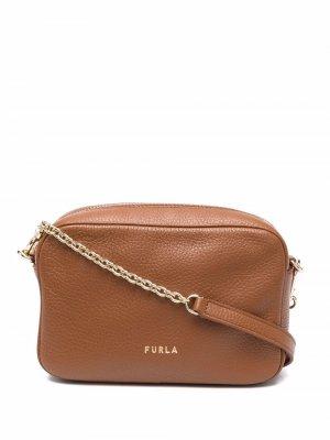 Сумка через плечо с логотипом Furla. Цвет: коричневый