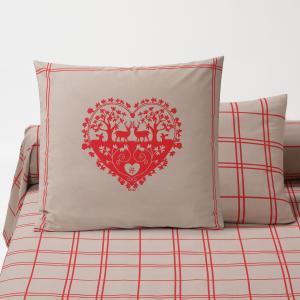 Наволочка или чехол для подушки-валика с рисунком, Fallaz LA REDOUTE INTERIEURS. Цвет: красный/ серо-коричневый