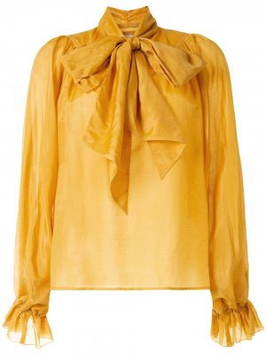 Блузка Ornamental с бантом Karen Walker. Цвет: желтый