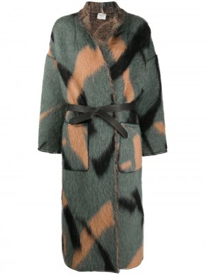 Пальто с абстрактным принтом и поясом Alysi. Цвет: синий
