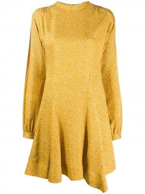 Платье мини с длинными рукавами и принтом пейсли Derek Lam 10 Crosby. Цвет: желтый