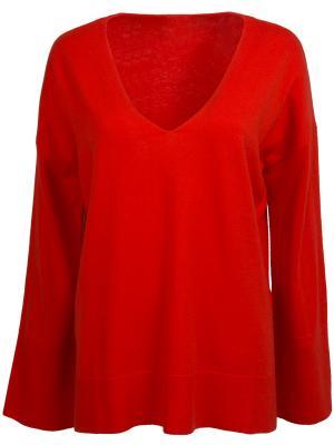 Однотонный пуловер HUGO BOSS. Цвет: красный