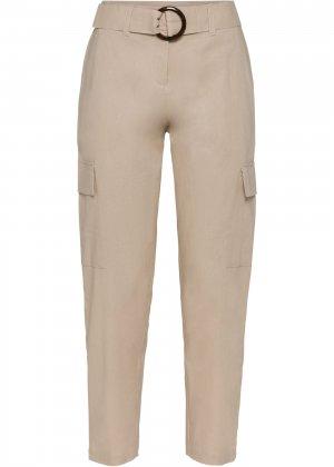 Льняные брюки bonprix. Цвет: бежевый
