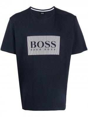 Футболка с логотипом BOSS. Цвет: синий