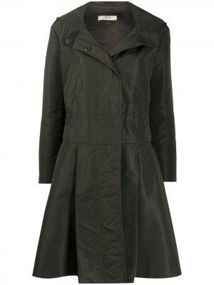 Расклешенное пальто с капюшоном Prada Pre-Owned. Цвет: зеленый