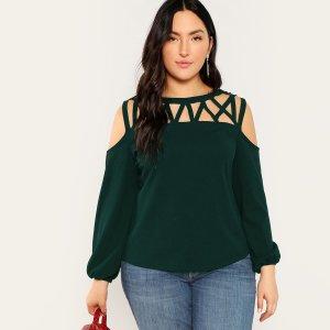 Большая Блуза С Открытыми Плечами И Ажурной Вставкой SHEIN. Цвет: зелёные